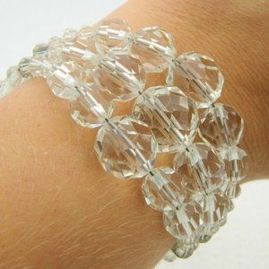 Silver Tone Clear Faceted Crystal Bracelet